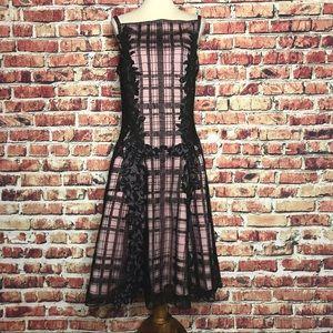 Todashi Shoji Pink Black Overlay Drop Waist Dress